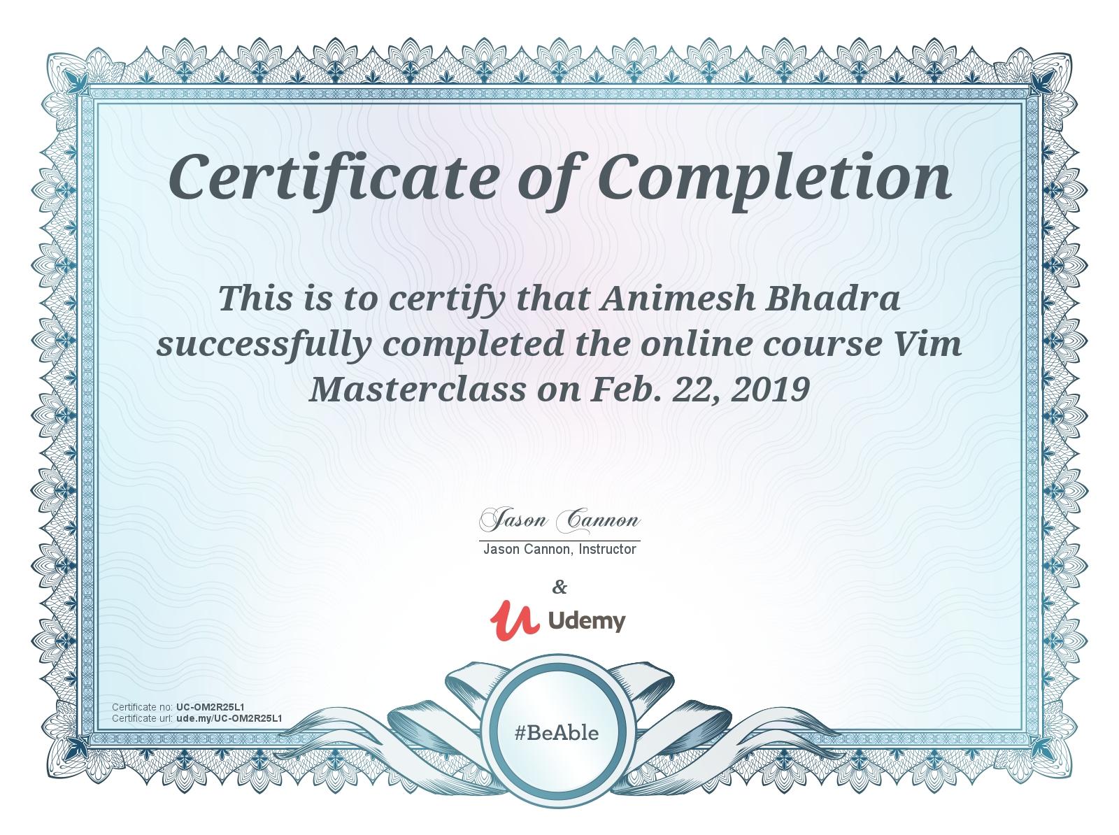 Vim Master Class Certificate
