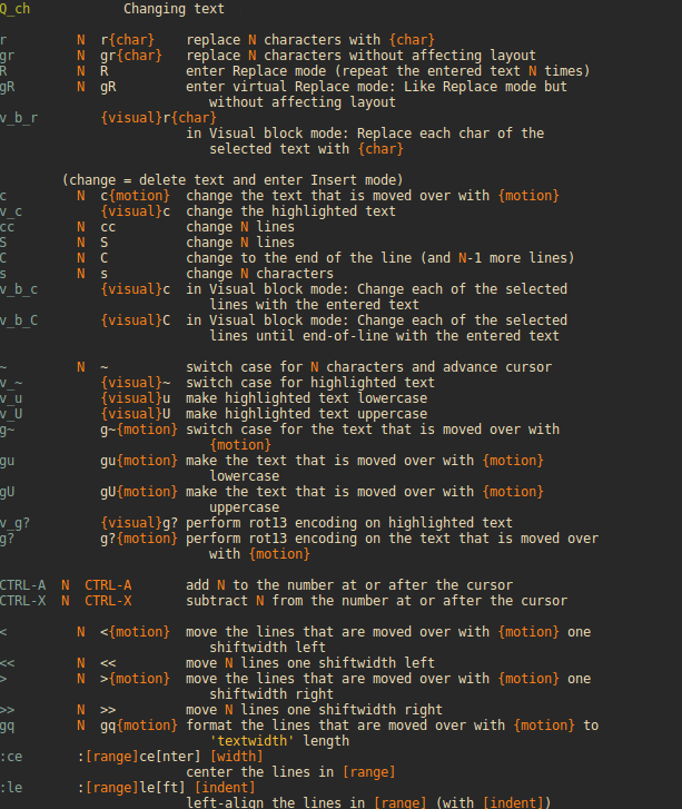 Vim Help Screen for changing text