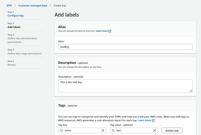 AWS Made Easy | AWS KMS | Create CMKs | Add label Step