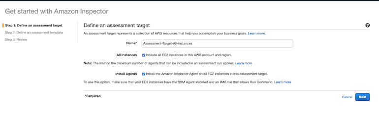 AWS Made Easy | AWS Inspector assessment page.