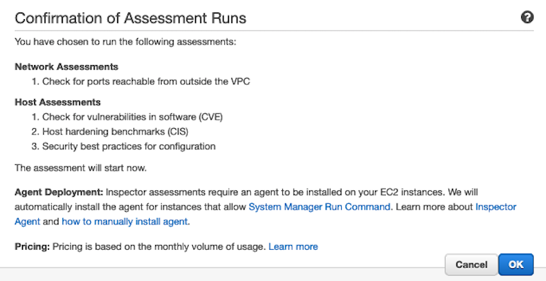 AWS Made Easy | AWS Inspector confirmation page.