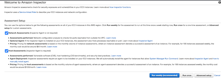 AWS Made Easy | AWS Inspector welcome page.
